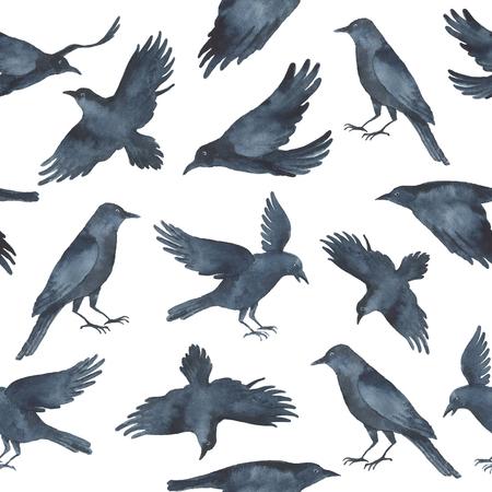 Aquarell nahtlose Muster mit schwarzen Raben auf weißem Hintergrund.