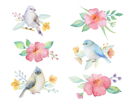 Watercolor colored bouquets of flowers and birds. Ideal for invitations, cards, greetings, wedding design. Perfect for spring and summer design. Banco de Imagens