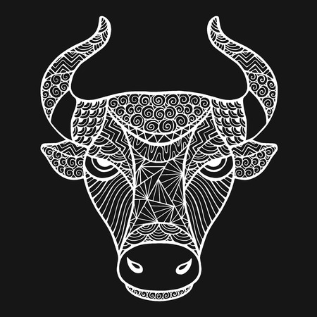 predators: Head Buffalo style handmade vector. Collection of animals.