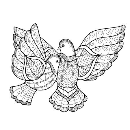 Zentangl dos paloma estilizada. Ilustración del vector aislado en el fondo blanco. Perfecto para tarjetas de felicitación, invitaciones de boda, la bolsa y el cartel. Foto de archivo - 53198324