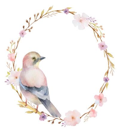 ovalo: Acuarela pintada a mano marco ovalado con flores de color rosa de primavera y un pájaro. Flores del resorte con el espacio para el texto. Perfecto para tarjetas de felicitación, invitaciones de boda y el diseño floral de verano. Foto de archivo
