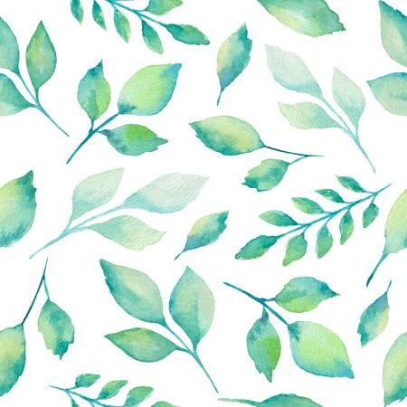 Grünes Aquarell Zweige und Blätter nahtlose Muster auf weißen Hintergrund. Vektor-Illustration. Standard-Bild - 53198336