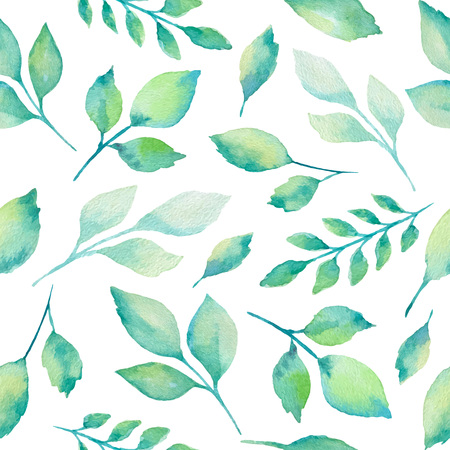 Green watercolor branches and leaves seamless pattern on white background. Vector illustration.