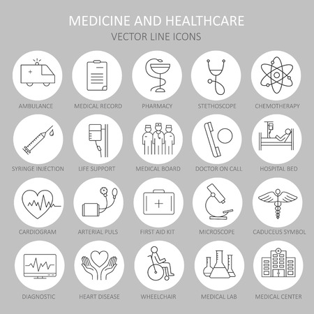 Moderna línea redonda fina de iconos en medicina y salud símbolos. Icono de alta calidad para los conceptos modernos. Ilustración de vector