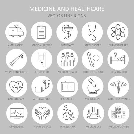Moderna linea rotonda sottile di icone sulla simboli salute e della medicina. icona di alta qualità per i concetti moderni. Vettoriali