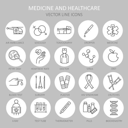 petri: Modern thin round line of icons on medicine and Health symbols. High quality icon for modern concepts. Illustration