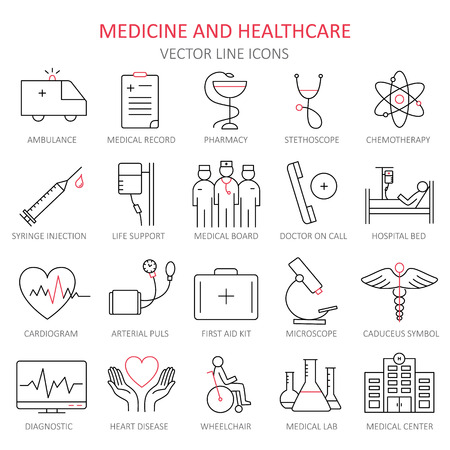 Modern thin line of icons on medicine and Health symbols.