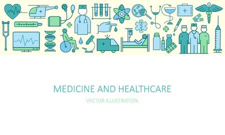 テーマ医学や健康のシンボルを薄い線形概念の現代。近代的な概念の高品質ベクトル。医学と医療のフラットなデザイン スタイル コンセプト。