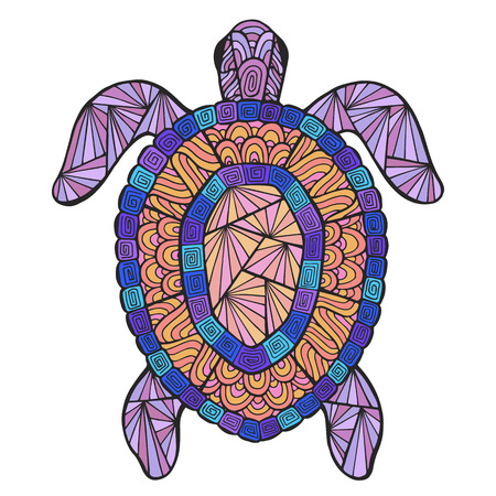 ancient turtles: Vector stylized turtle with ethnic pattern. Marine theme in the style of Zen art. Illustration