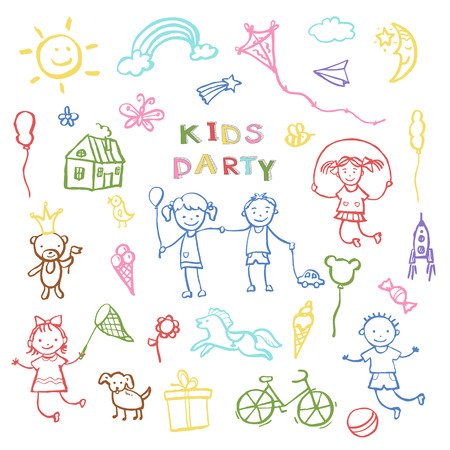 catchy: Kids party doodles for the design of childrens parties, birthdays, posters, invitations, childrens textiles. Vector illustration. Illustration