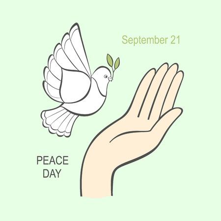 Weiße Taube mit einem Olivenzweig und die menschliche Hand für den internationalen Tag Welt. Vector Kunst auf Hintergrund.