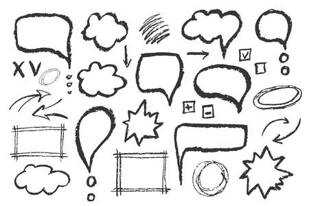 Ensemble de messages bulles. Main vecteur tracé discours esquisse illustration.