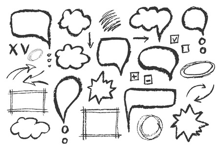 Set di bolle di messaggio. Mano vettore tracciato illustrazione abbozzo di discorso.