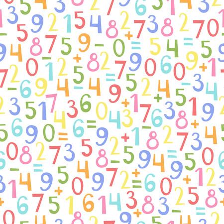 signos matematicos: Modelo inconsútil colorido de los números y signos matemáticos del cero al nueve. Patrón de vector para niños y diseño de la escuela.