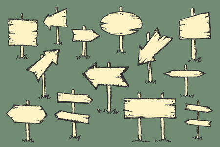 opposite arrows: Hand drawn doodle wooden road signs and arrows pointing in different and opposite directions. Vector illustration.