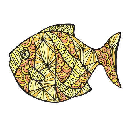 underwater fishes: Stylized colored fish, zentangle isolated on white background. Vector sketch for tattoo. Zen art for your sea design.