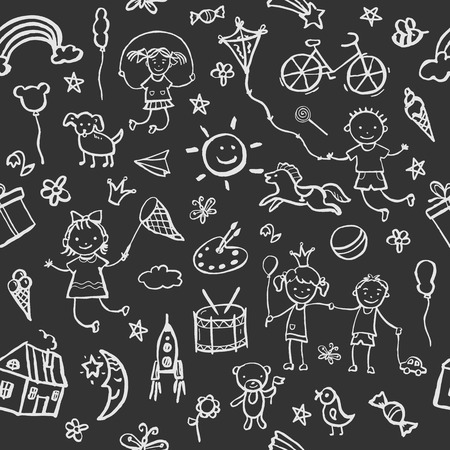 Hand-drawn sketch in the style seamless pattern on the theme of childhood. Vector illustration for children design.