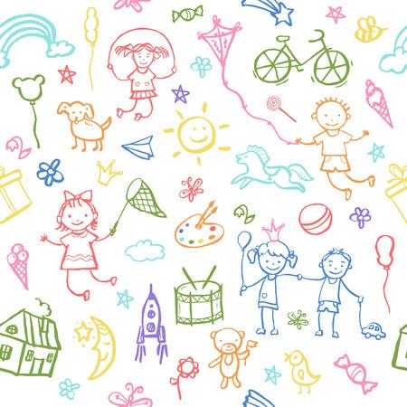 Geschilderd door hand in doodle stijl naadloos patroon op het thema van de kindertijd. Vector illustratie voor kinderen design.