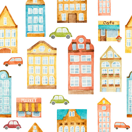 Watercolor seamless pattern with houses and vintage cars. Artistic background with urban elements.