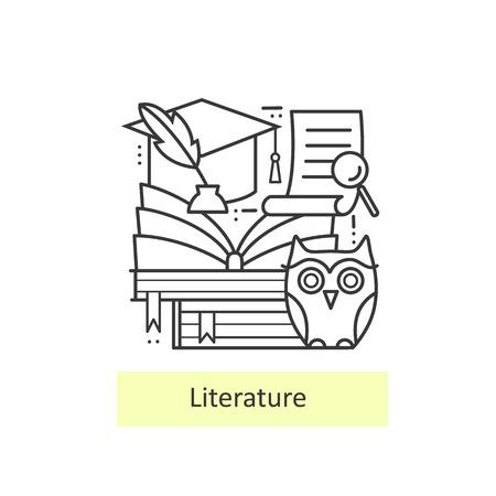 literature: delgada línea Iconos modernos de la literatura y la educación, el conocimiento y el estudio. De vuelta a la escuela. concepto moderno de una colección de vectores.