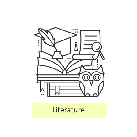 literatures: Modern thin line icons literature and education, knowledge and study. Back to school. Modern concept of a collection of vectors.