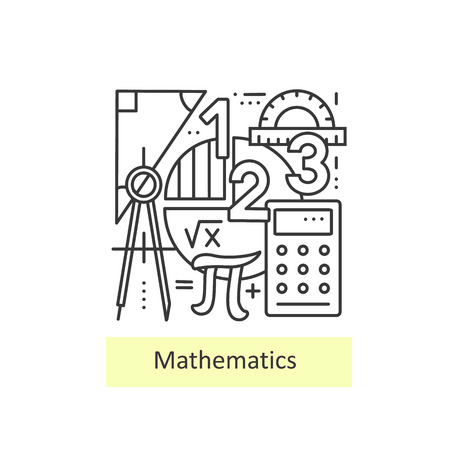 Modern thin line icons of mathematics for school, university and training. Modern concept of a collection of vectors.