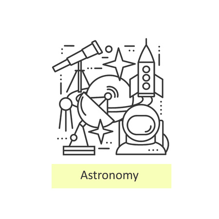 observatory: Modern thin line icons of astronomy. Set astronomical symbols planet, stars, asteroid, observatory, astronaut,  telescope and rocket. Modern concept of a collection of vectors.
