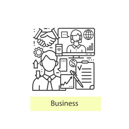 office icon: Modern thin line icons for business and management. Modern concept of a collection of vectors. Vector  business background. Illustration
