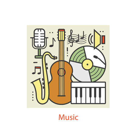 compose: Modern color thin line art design music. Modern concept collection, Flat Style. Concepts  for Trendy Designs.  line background. Illustration