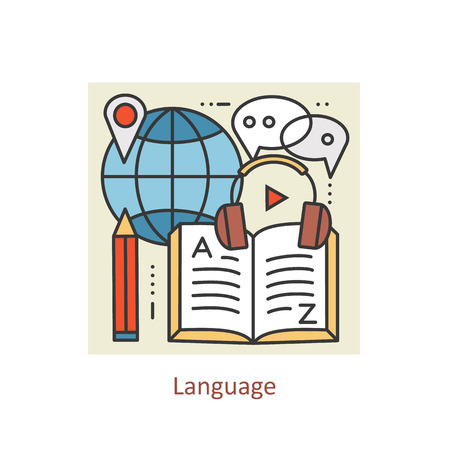 lexicon: Modern color thin line concept of learning foreign languages, language training school. Art design collection, Flat Style. Concepts  for Trendy Designs.  line background.