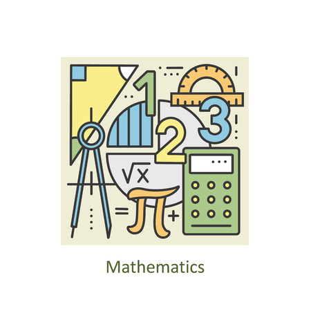 학교, 대학 및 교육에 대한 수학의 현대적인 색상 얇은 선 개념입니다. 아트 디자인 컬렉션, 플랫 스타일. 유행 디자인에 대한 개념. 라인 배경입니다.