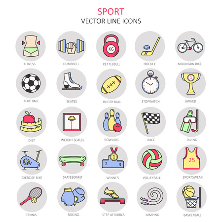 Modern color thin line icons on sports themes. High quality  for modern concepts. Label for sports organizations. Flat style icons for your collection.