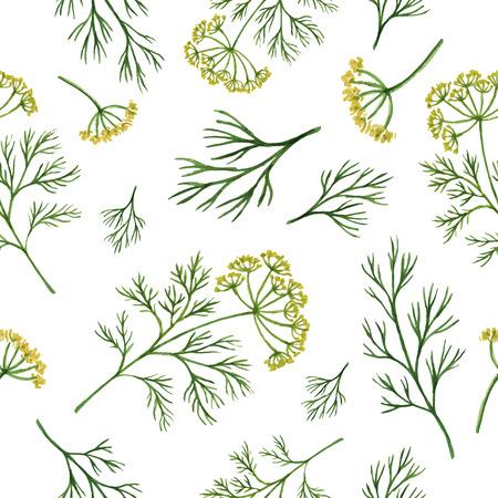 Acquerello vector seamless disegnati a mano alle erbe aneto. foglie acquerello e rami di aneto su uno sfondo bianco. Erbe per l'imballaggio di progettazione, carte, cartoline e illustrazioni di libri.
