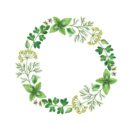 Watercolor vector hand painted frame with herbs and spices. The perfect design for greeting card, skrabbuking, menus, packaging, kitchen decor, cosmetics, natural and organic products. Round frame with space for text.