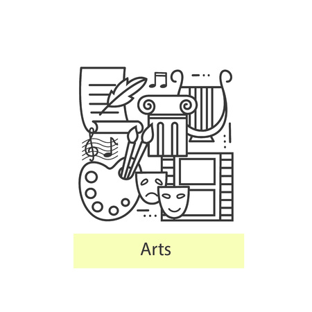 arts culture and entertainment: Modern thin line icons of Art. Modern concept of a collection of vectors. Flat Style, Thin Line Art Design.  Concepts for Trendy Designs. Vector line background. Illustration
