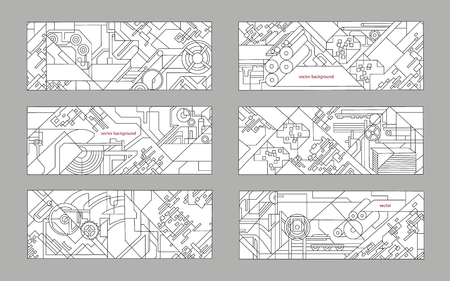 extrusion: Abstract geometric background set. Vector background for printing and paper industry. Technical drawing of mechanisms and machine tools.
