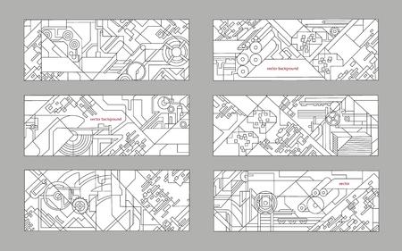 Conjunto de fondo abstracto y geométrico. Fondo del vector para la industria de impresión y el papel. dibujo técnico de mecanismos y máquinas herramientas.