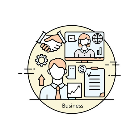 professional: Modern thin line icons for business and management. Vector illustration with different elements on the subject of business and management. Graphic element for business companies. Illustration
