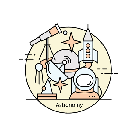 astrophysics: Modern color thin line concept of astronomy and space. Vector illustration with different elements on the subject astronomy. Graphic element for educational institutions, design books and magazines.