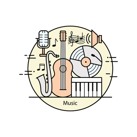 conservatories: Modern color thin line art design music. Vector illustration with different elements on the theme of music. Graphic element for music schools and conservatories.