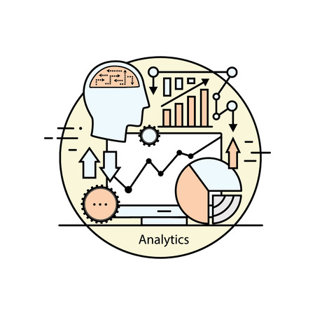 analytical: Modern color thin line concept analytics. Vector illustration with different elements on the subject of intelligence. Graphic element for analytical companies. Illustration