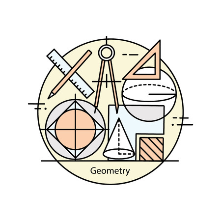 computation: Modern color thin line concept of geometry for school, university and training. Vector illustration with different elements on the subject of geometry.