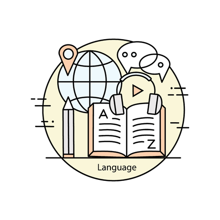 lexicon: Modern color thin line concept of learning foreign languages, language training school. Vector illustration with different elements on the theme of languages. Graphic element for schools and colleges.