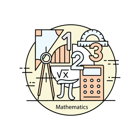 Modern color thin line concept of mathematics for school, university and training. Vector illustration with different elements on the subject mathematics.  Concepts for Trendy Designs. Illustration