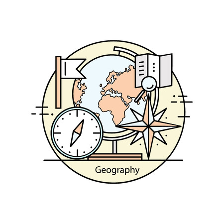 geography: Modern color thin line concept of geography for school, university and training.Vector illustration with different elements on the topic of geography.  Concepts for Trendy Designs.