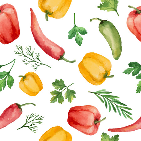cilantro: Seamless pattern with watercolor vegetables on white background. Hand drawn food texture with pepper, rosemary, parsley, dill, cilantro. Vector illustration.