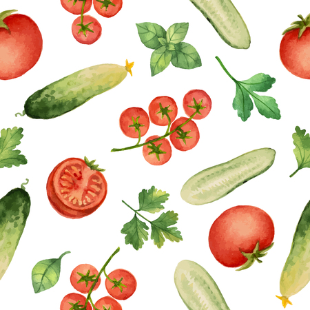basil: Seamless pattern with watercolor vegetables on white background. Hand drawn food texture with tomato, cucumber, cilantro, basil, parsley.Vector illustration. Illustration