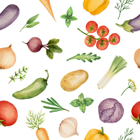 Seamless pattern with watercolor vegetables on white background. Hand drawn food texture with beets, peppers, potatoes, cabbage, garlic, onion, carrot, tomato, cucumber, cilantro, basil, parsley.Vector illustration.