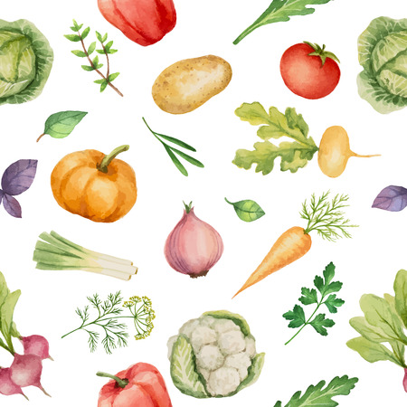 Seamless pattern with watercolor vegetables. Hand drawn food texture with radishes, peppers, potatoes, cabbage, turnips, onions, carrots, tomato, cucumber, cilantro, Basil, arugula, parsley.Vector illustration. Иллюстрация