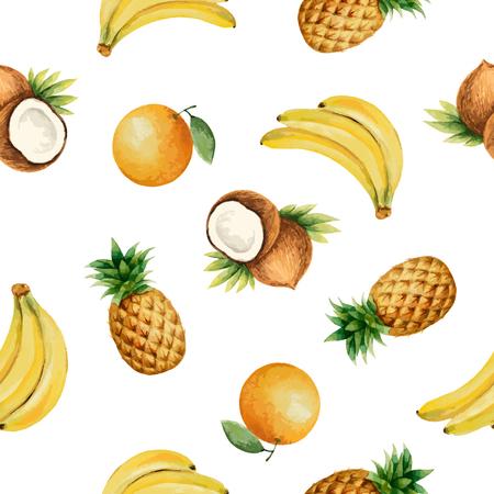 Seamless avec aquarelle fruits sur fond blanc. Tiré par la main la texture des aliments à la banane, noix de coco, ananas, orange.Vector illustration.